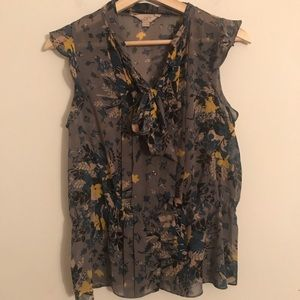 Loft floral button shirt with Bow Collar